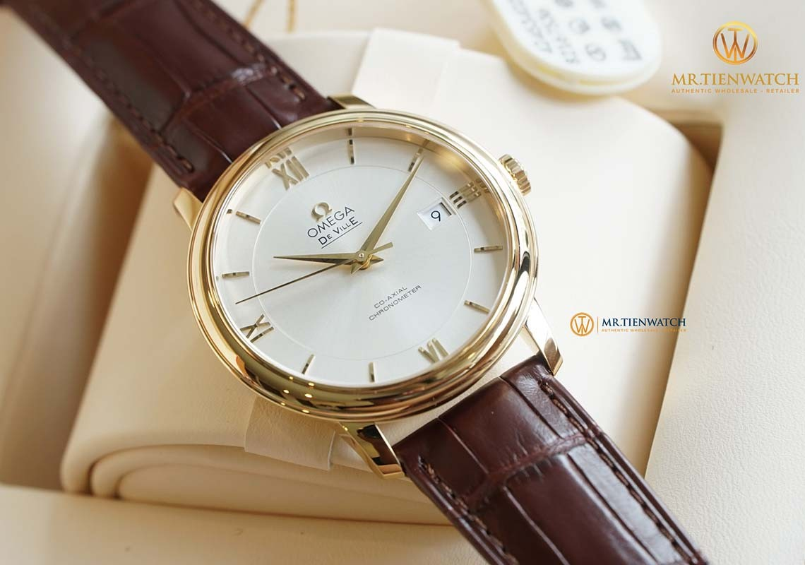[Review] OMEGA DE-VILLE PRESTIGE Co-Axial Yellow Gold Leather Strap 39.5 MM 424.53.40.20.02.002 đã là kinh điển !